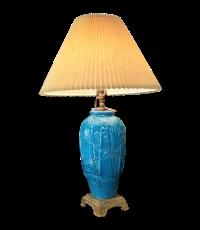 Vintage Heyward House Peacock Blue Ceramic Lamp   Chairish