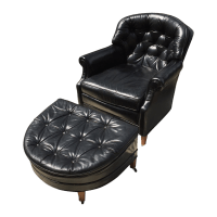 Mid-Century Tufted Black Leather Chair & Ottoman | Chairish