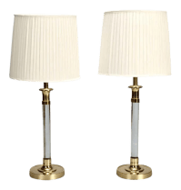 Pair Tall Mid Century Lucite and Brass Table Lamps | Chairish