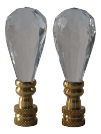 Faceted Acrylic Crystal Lamp Finials - A Pair | Chairish