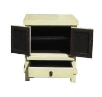 Rustic Cream Nightstand   Chairish