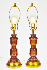 Vintage Mid Century Turned Wood Table Lamps - A Pair ...