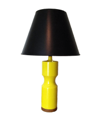 Vintage Yellow Ceramic Lamp With Wooden Base | Chairish