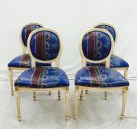 Oval Back Louis Style French Fluted Dining Chairs - 4 ...