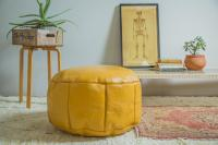 Antique Revival Yellow Leather Pouf Ottoman | Chairish