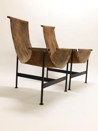 Mid-Century Modernist Leather Sling Chairs - A Pair | Chairish