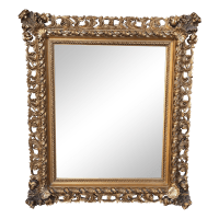 Framed Wall Antique Gold Filigree Mirror | Chairish