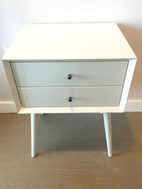 West Elm Mid-Century White Lacquer Nightstand | Chairish
