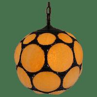 Mid-Century Modern Slag Glass Hanging Lamp | Chairish
