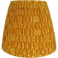 Medium Mustard Yellow Indian Block Print Gathered Lamp ...