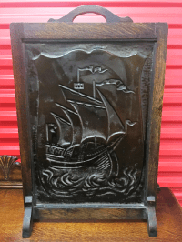 Antique Embossed Copper Nautical Fireplace Screen | Chairish