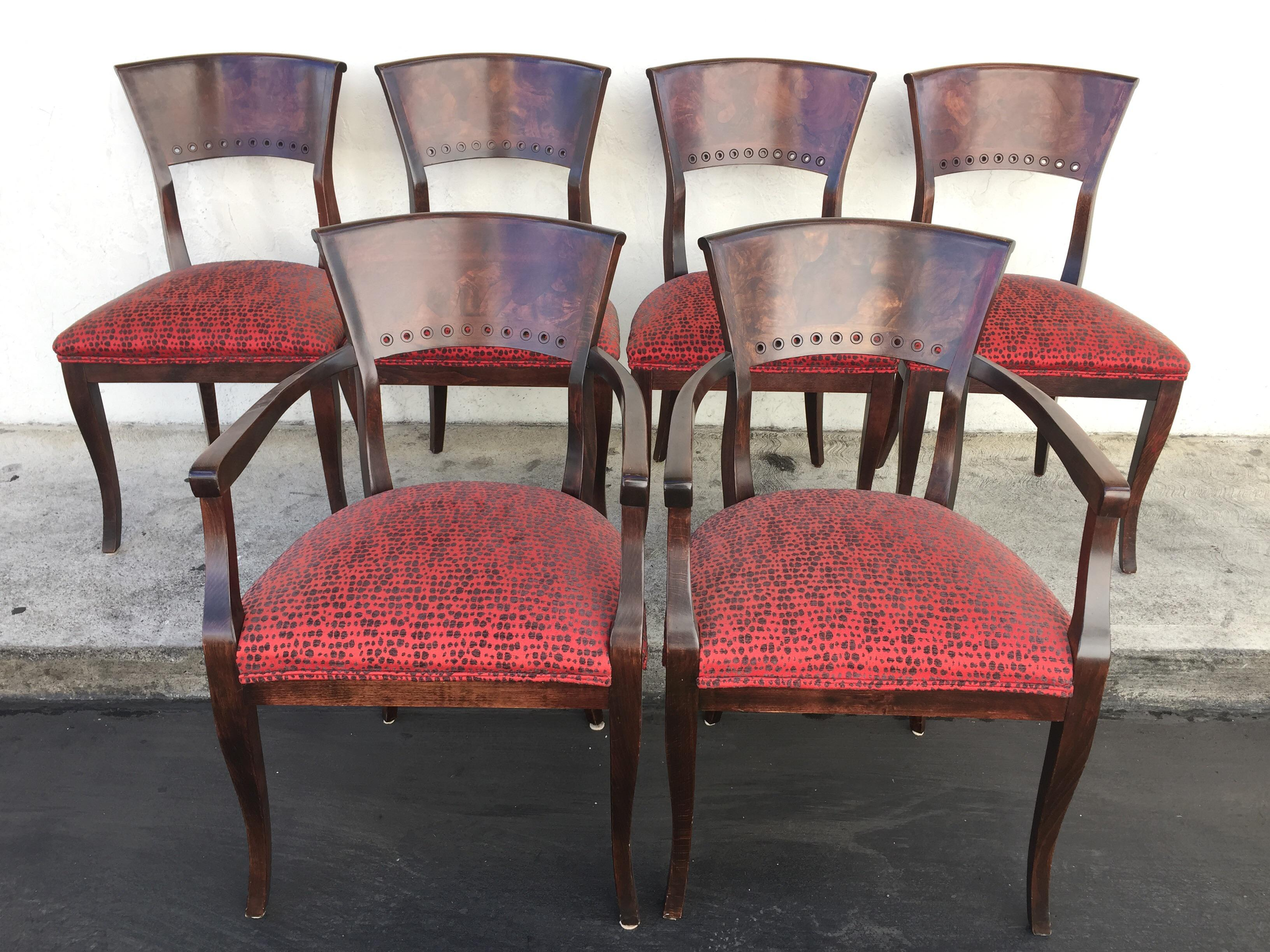 Italian Red Upholstered Wood Dining Chairs Set of 6
