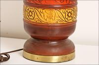 Brown & Orange Vintage Art Pottery Table Lamp | Chairish