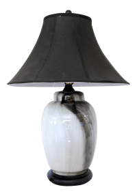 Mid-Century Black & White Glass Marbled Table Lamp | Chairish