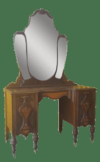 Antique Art Deco Vanity Dresser W/ Mirror & Chair | Chairish
