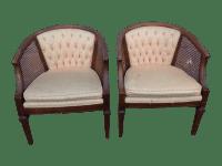 Vintage Mid Century Cane Barrel Back Chairs - 2 | Chairish