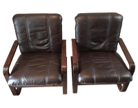 Mid-Century Bentwood Leather Lounge Chairs - Pair | Chairish