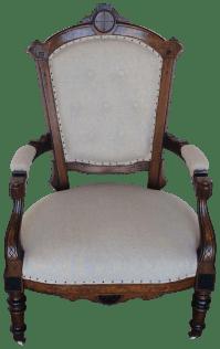 Vintage Victorian Natural Linen Accent Chair | Chairish