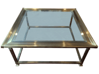 Vintage Mastercraft Brass/Glass Coffee Table | Chairish