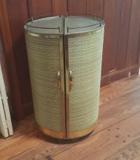Vintage 50s Portable Round Bar Cart | Chairish