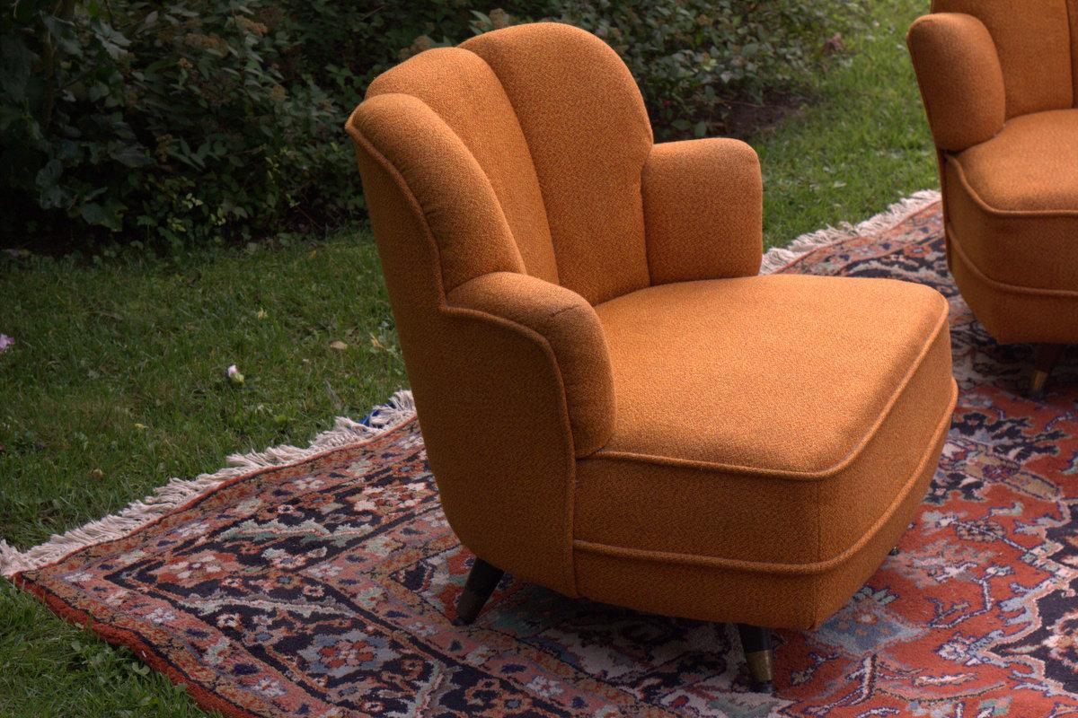 MidCentury Scalloped Slipper Swivel Chairs  A Pair