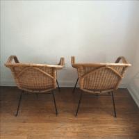 Mid Century Modern Rattan & Iron Chairs with Table | Chairish