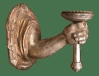 Giltwood Designer Hand & Wrist Wall Sconce | Chairish