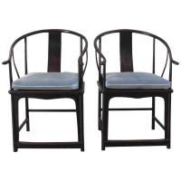 Large Antique Chinese Horse Shoe Back Chairs - 2 | Chairish