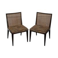 Dunbar Mid Century Modern Cane Back Chairs - Pair | Chairish