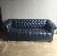 Vintage Navy Blue Leather Tufted Chesterfield Sofa | Chairish