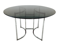 Vintage Mid Century Modern Glass & Chrome Table | Chairish