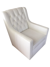 White Faux Leather Swivel Rocking Chair | Chairish