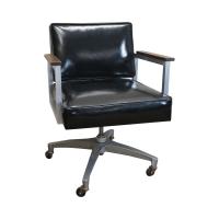 Mid Century Aluminum & Black Vinyl Swivel Chair