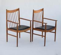 Arne Vodder Teak Captain Dining Chairs - A Pair | Chairish