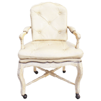 Victorian White Washed Wood Leather Office Chair | Chairish