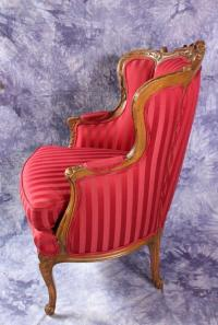 French Louis XV Style Red Upholstered Chair | Chairish