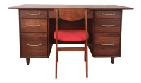 Mid-Century Modern Walnut Executive Desk & Chair - A Pair ...
