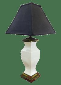 Vintage White Ceramic Lamp on Brass Base   Chairish