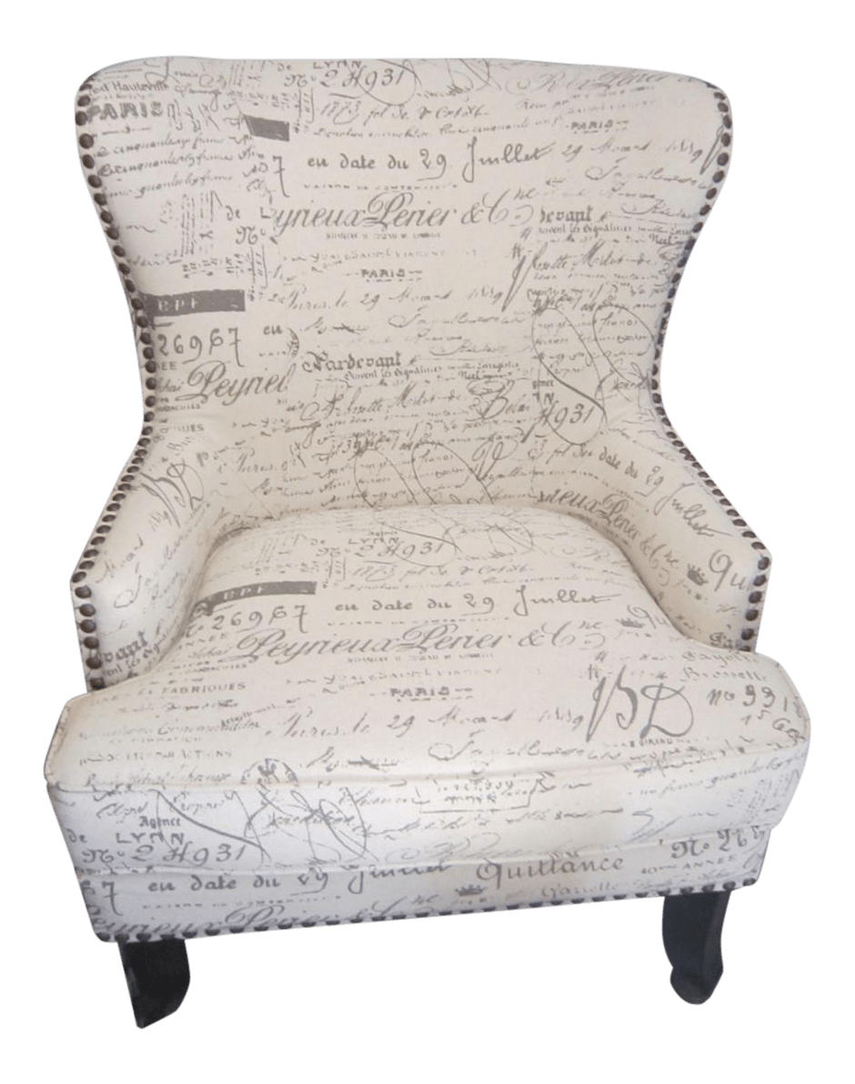 French Script Wing Chair with Nailhead Trim  Chairish