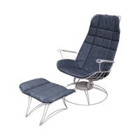 Homecrest Mid-Century Wire Frame Chair & Ottoman | Chairish
