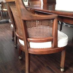 Mid Century Modern Cane Barrel Chairs Black Square Pub Table And Henredon Game With 6 Cane-back | Chairish