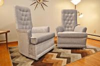 Mid Century Velvet Tufted High-Back Chairs - Pair | Chairish