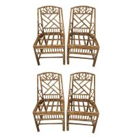 Bamboo Chinoiserie Pagoda Chairs - Set of 4 | Chairish