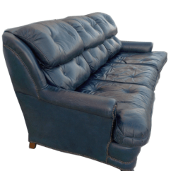 Black Chesterfield Sofa Velvet Slip Covers Malaysia Vintage Tufted Blue Leather   Chairish