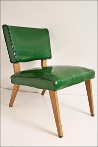 Mid-Century Modern Green Slipper Chair | Chairish