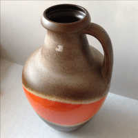 Orange and Brown Fat Lava Floor Vase | Chairish