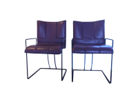 Purple Leather Chairs - A Pair | Chairish