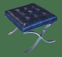 Tuft Navy Blue Genuine Leather Ottoman   Chairish