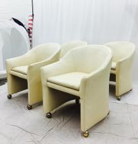 Vintage Mid-Century Modern White Leather Chairs | Chairish