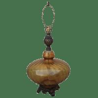 Mid-Century Oversized Amber Glass Lamp   Chairish